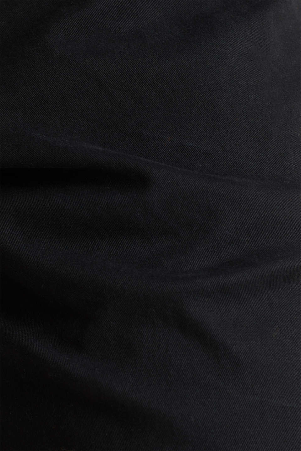 Cropped chinos with stretch and organic cotton, BLACK, detail image number 4