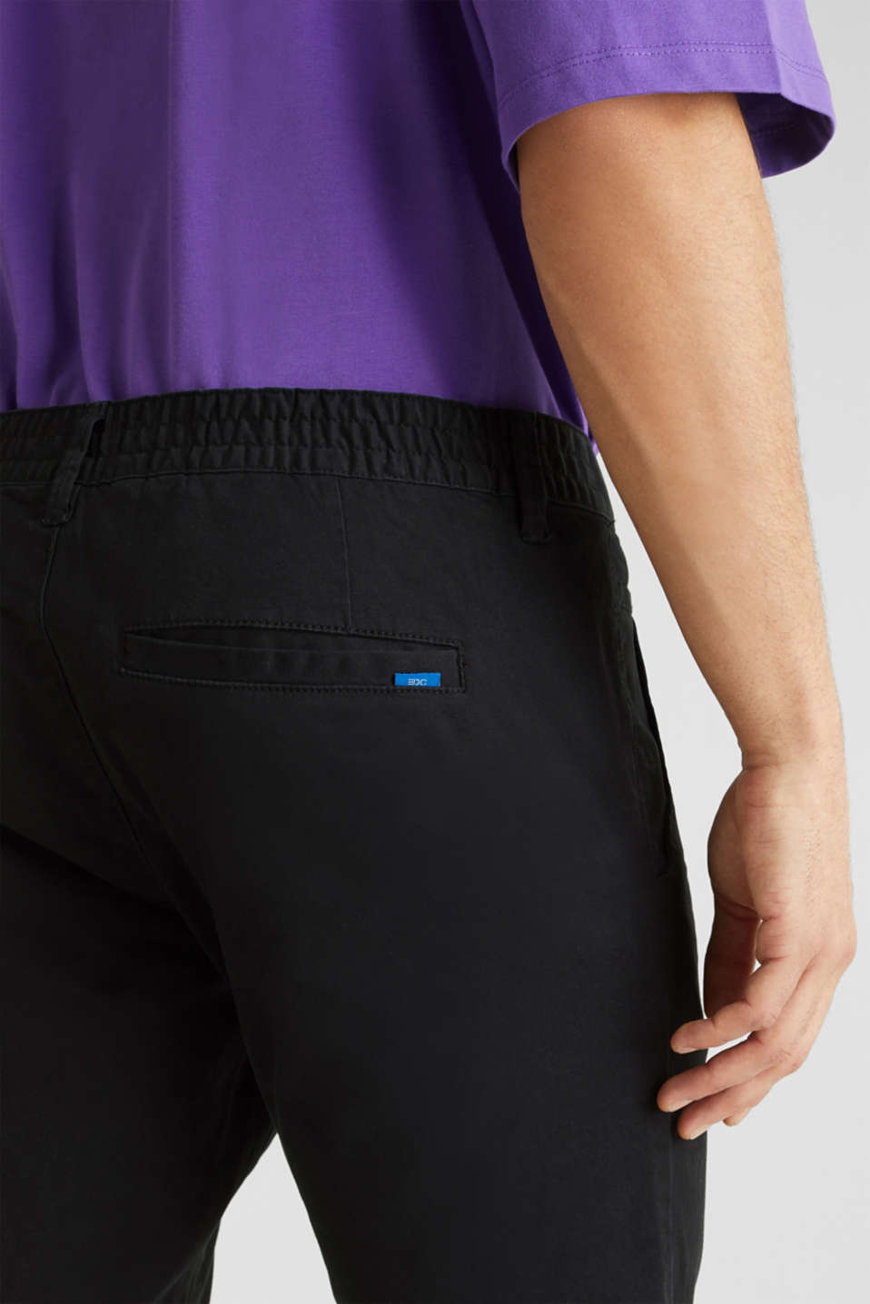 Cropped chinos with stretch and organic cotton, BLACK, detail image number 5