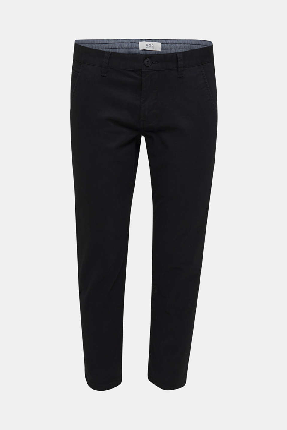 Cropped chinos with stretch and organic cotton, BLACK, detail image number 7
