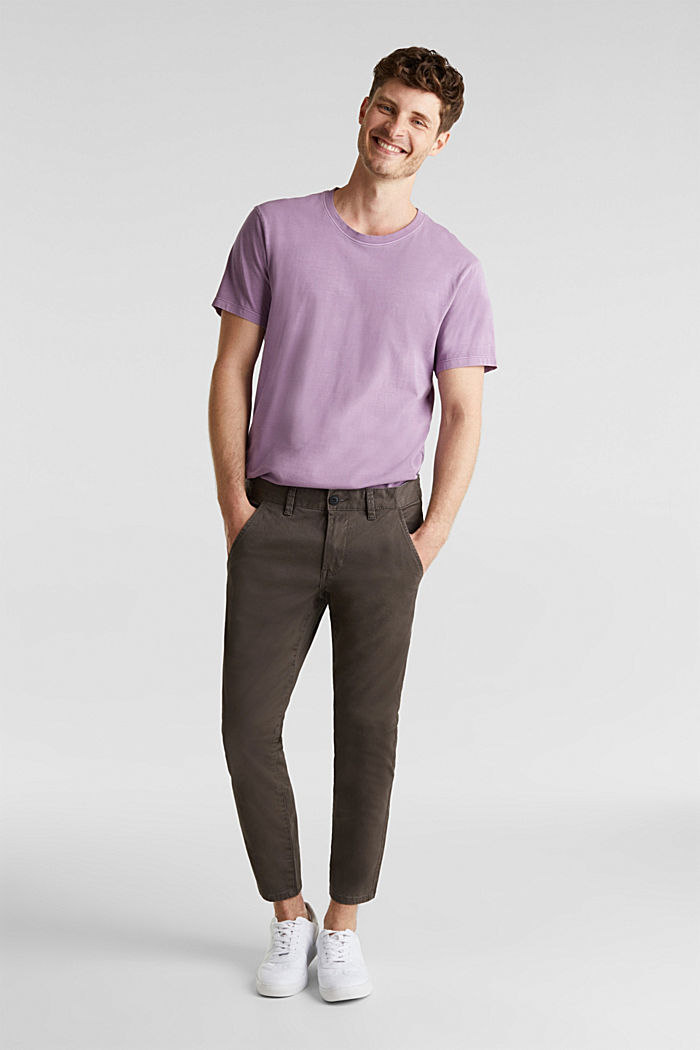 Cropped chinos with stretch and organic cotton, ANTHRACITE, overview