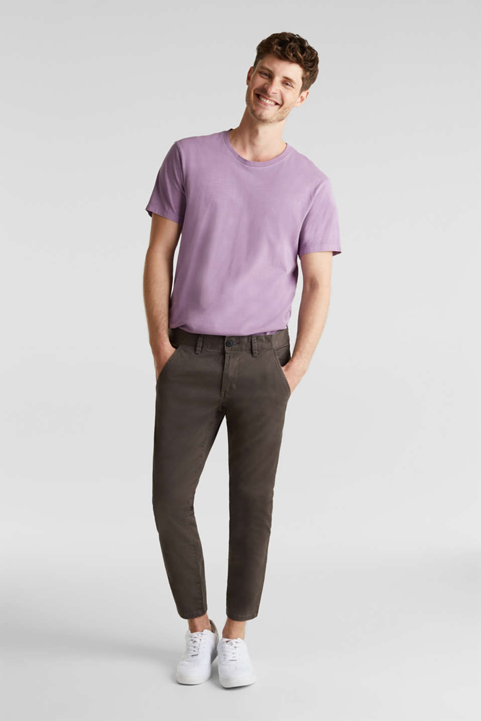 edc - Cropped chino met stretch en organic cotton