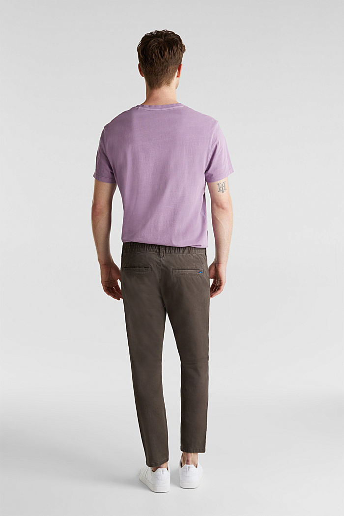 Cropped chinos with stretch and organic cotton, ANTHRACITE, detail image number 2
