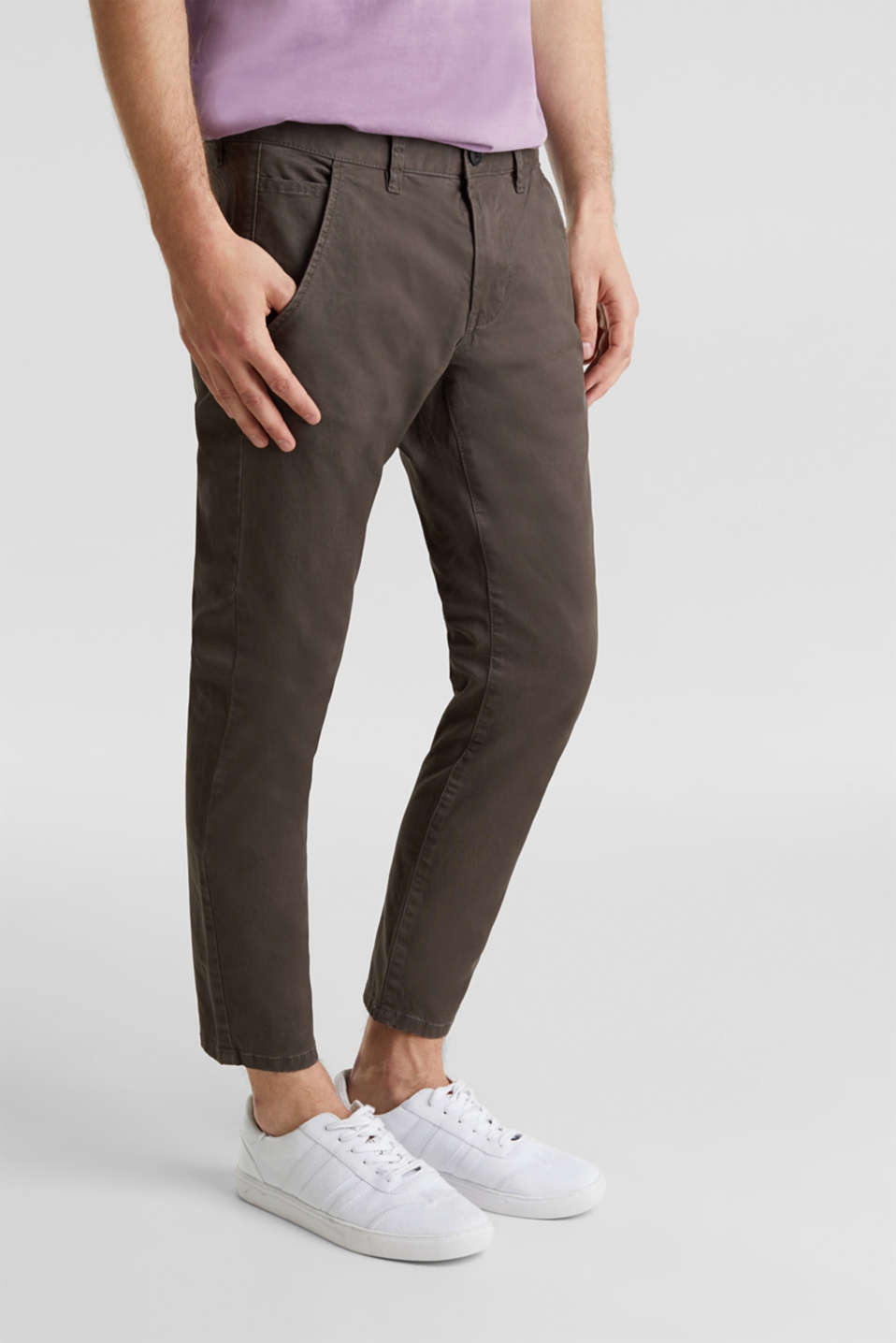 Cropped chinos with stretch and organic cotton, ANTHRACITE, detail image number 5