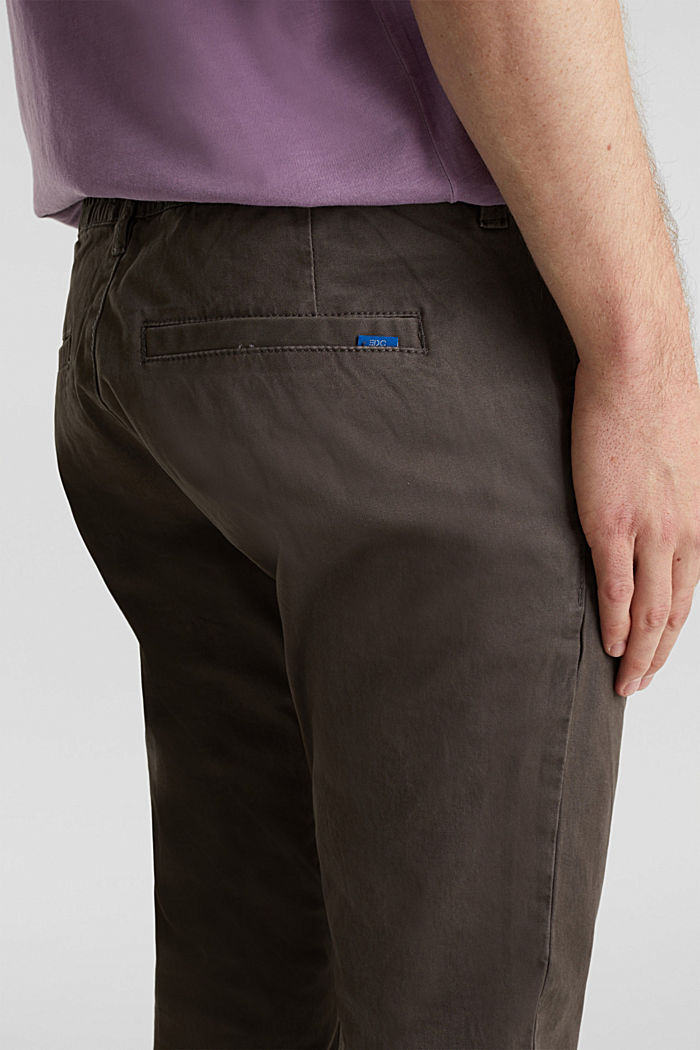Cropped chinos with stretch and organic cotton, ANTHRACITE, detail image number 4