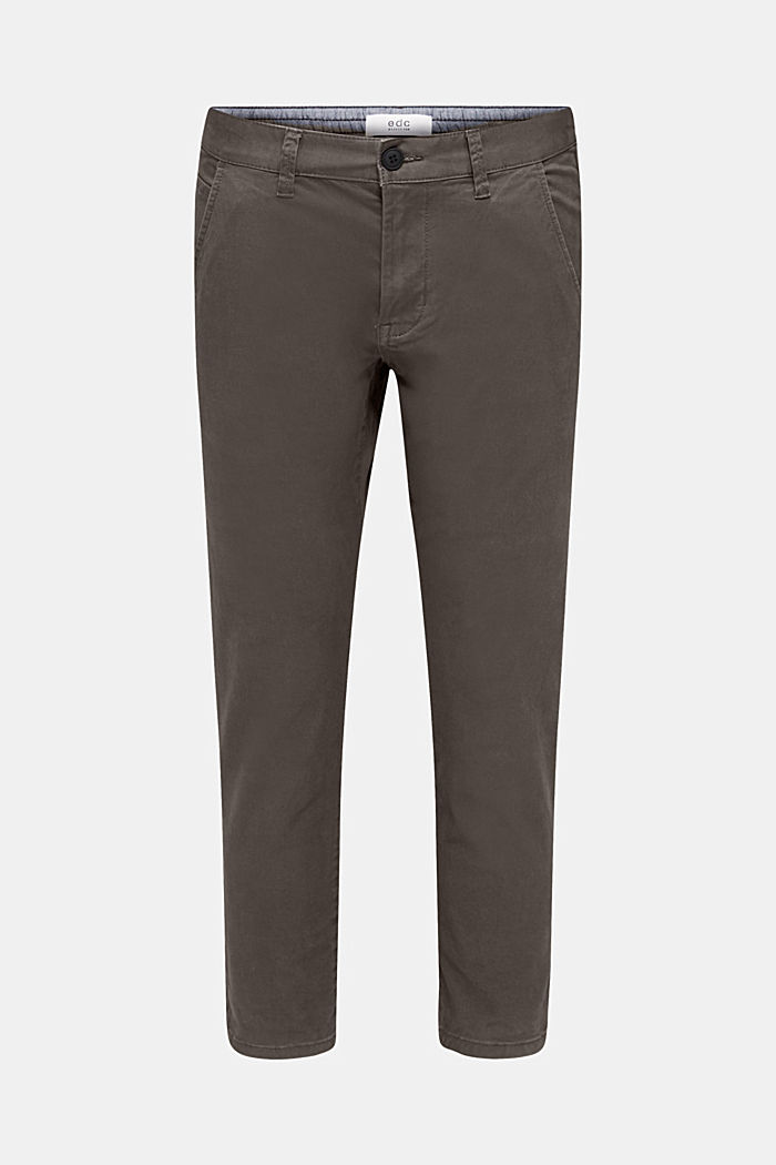 Cropped chinos with stretch and organic cotton, ANTHRACITE, detail image number 6