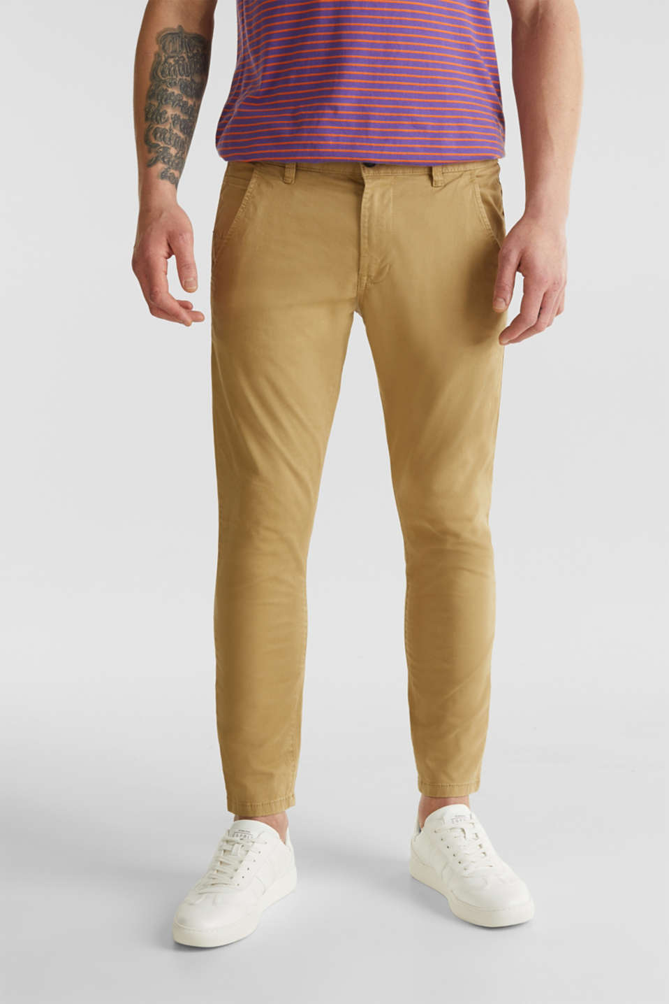 Cropped chinos with stretch and organic cotton, CAMEL 2, detail image number 0