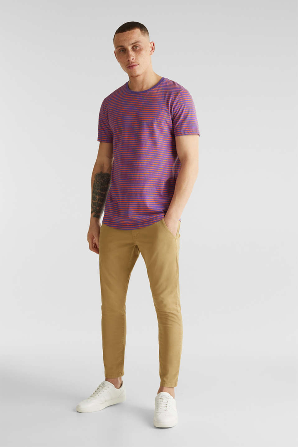 Cropped chinos with stretch and organic cotton, CAMEL 2, detail image number 1