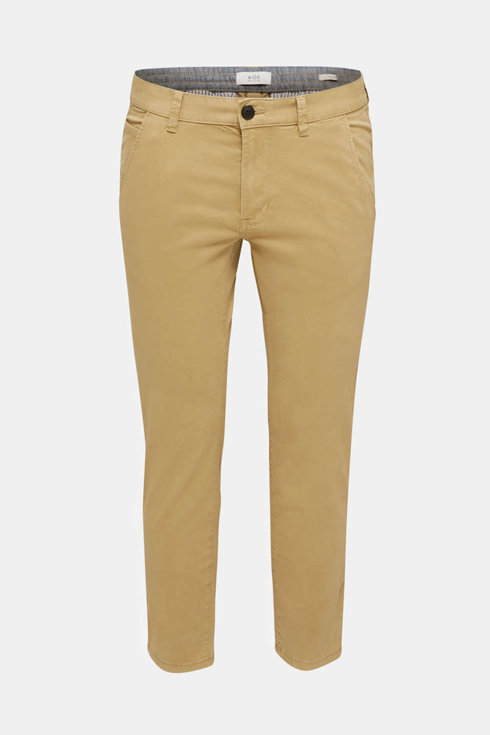 Cropped chinos with stretch and organic cotton, CAMEL 2, detail image number 7