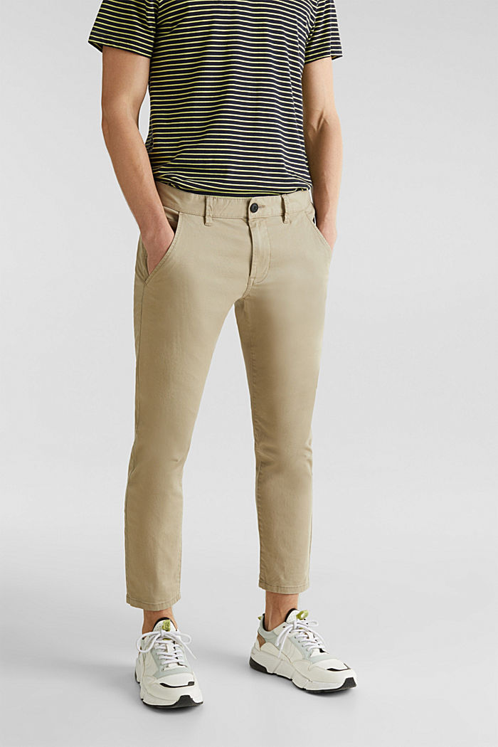 Cropped chinos with stretch and organic cotton, LIGHT BEIGE, overview
