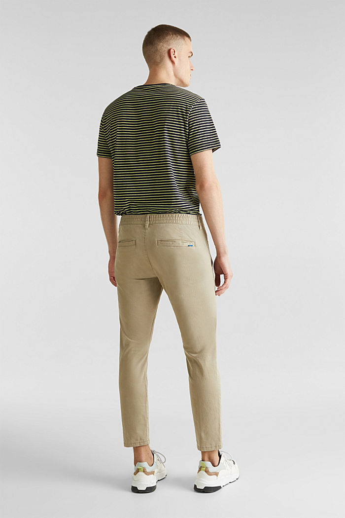 Cropped chinos with stretch and organic cotton, LIGHT BEIGE, detail image number 3