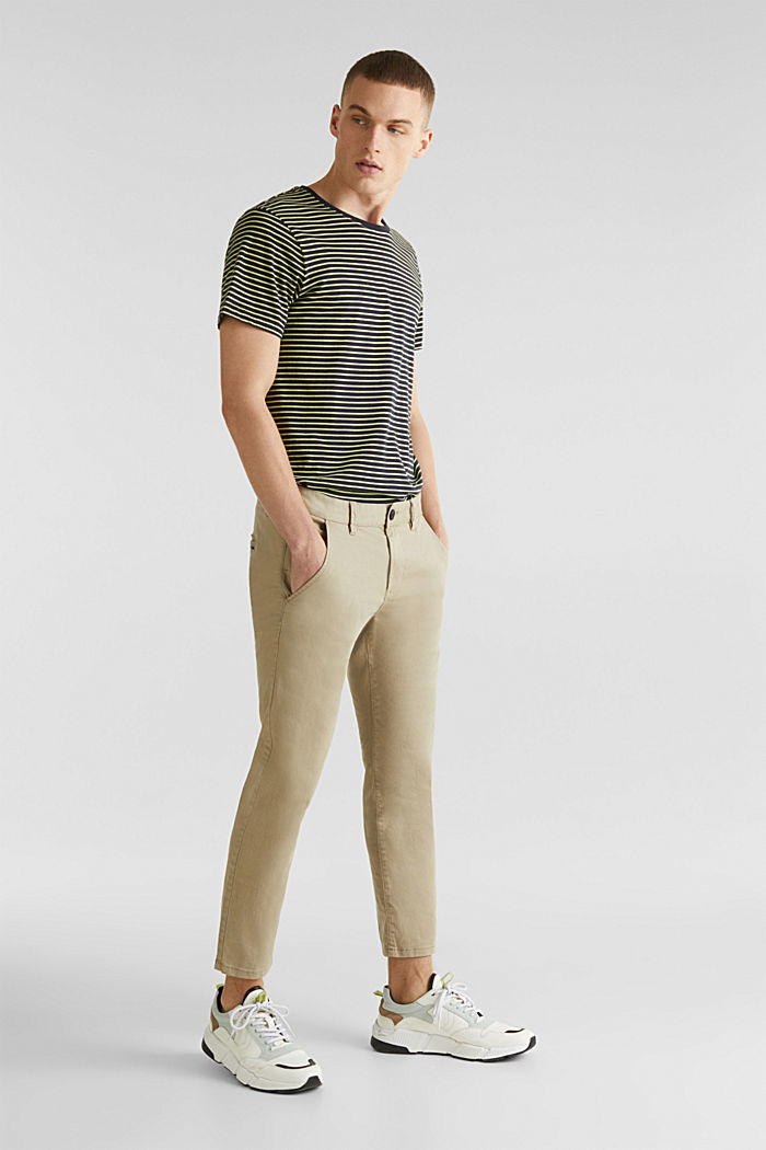 Cropped chinos with stretch and organic cotton, LIGHT BEIGE, detail image number 1