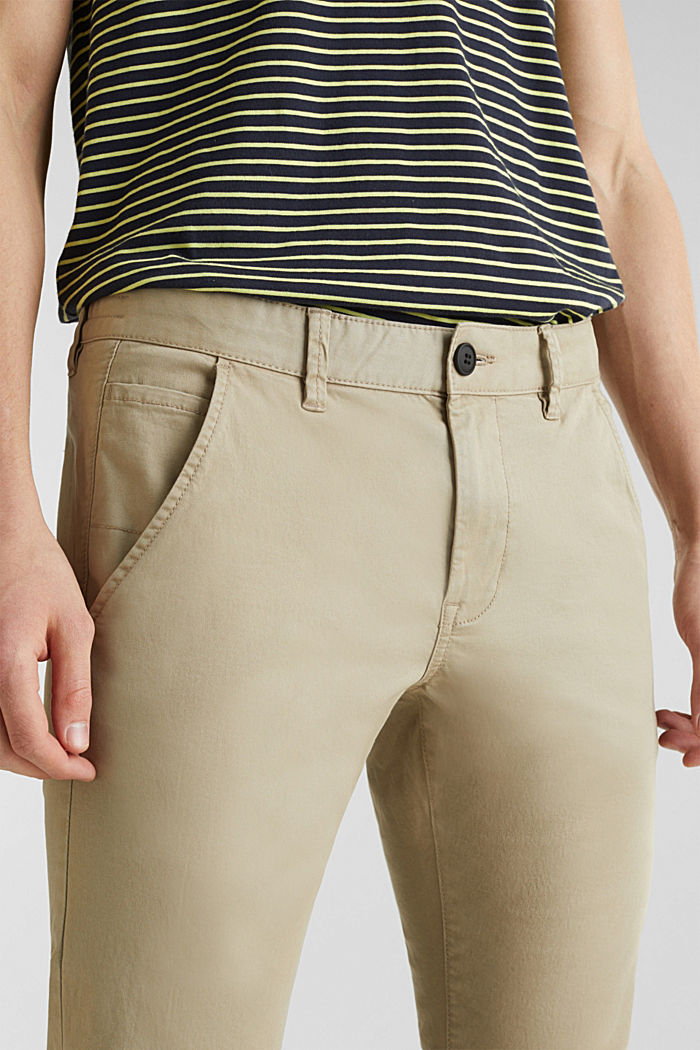 Cropped chinos with stretch and organic cotton, LIGHT BEIGE, detail image number 2