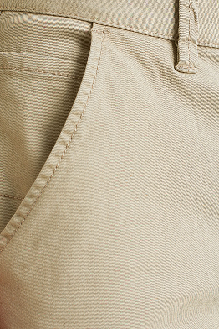Cropped chinos with stretch and organic cotton, LIGHT BEIGE, detail image number 4