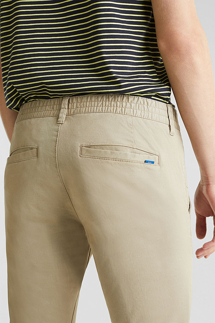 Cropped chinos with stretch and organic cotton, LIGHT BEIGE, detail image number 5