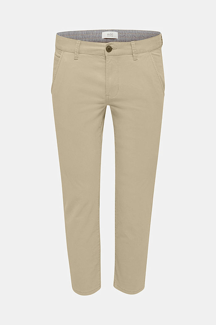 Verkürzte Chino mit Stretch und Organic Cotton, LIGHT BEIGE, overview