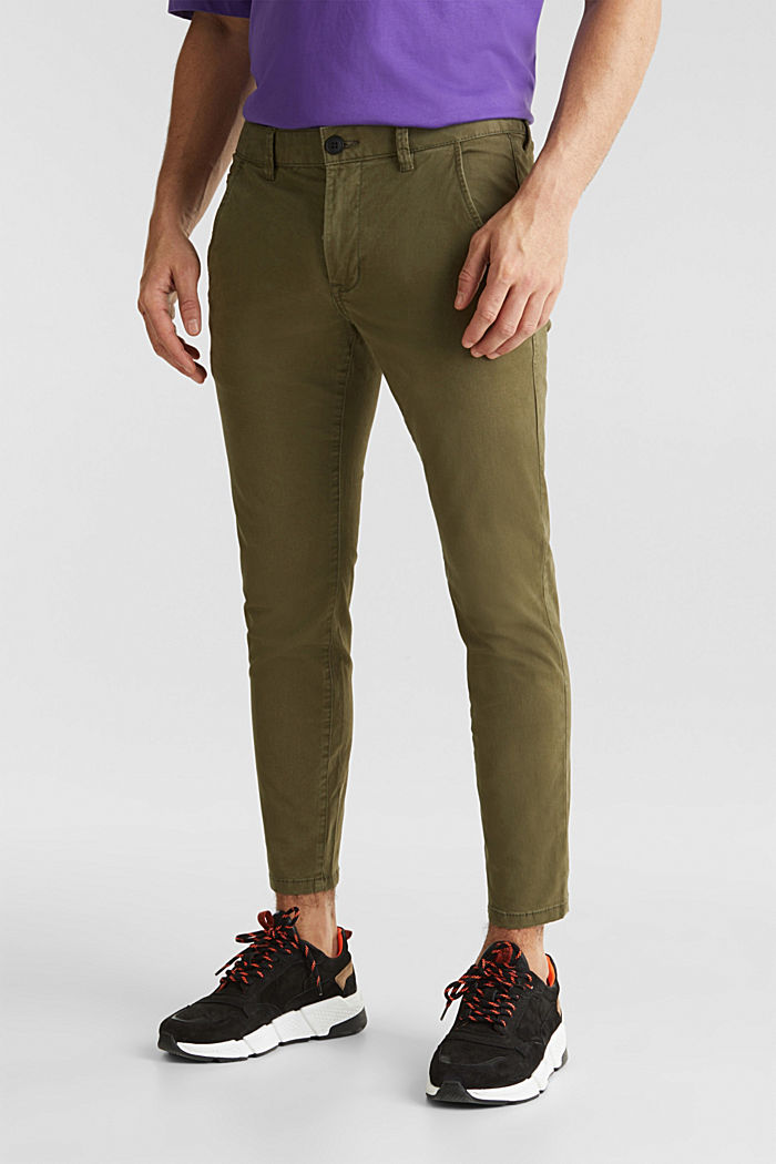 Cropped chinos with stretch and organic cotton, OLIVE, detail image number 0