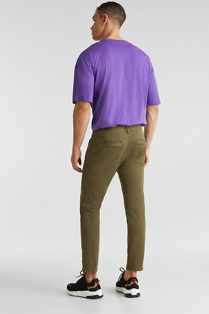Verkürzte Chino mit Stretch und Organic Cotton, OLIVE, detail image number 2