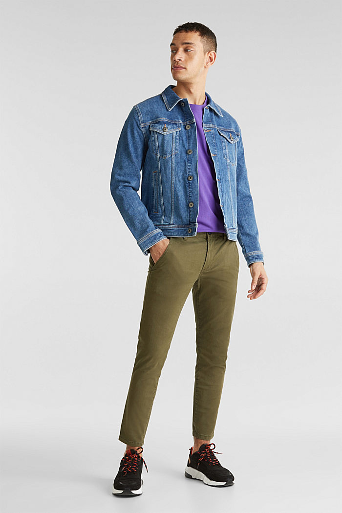 Cropped chinos with stretch and organic cotton, OLIVE, detail image number 1