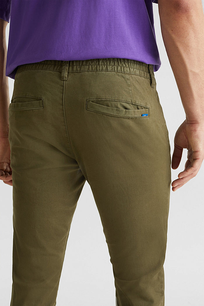 Cropped chinos with stretch and organic cotton, OLIVE, detail image number 4