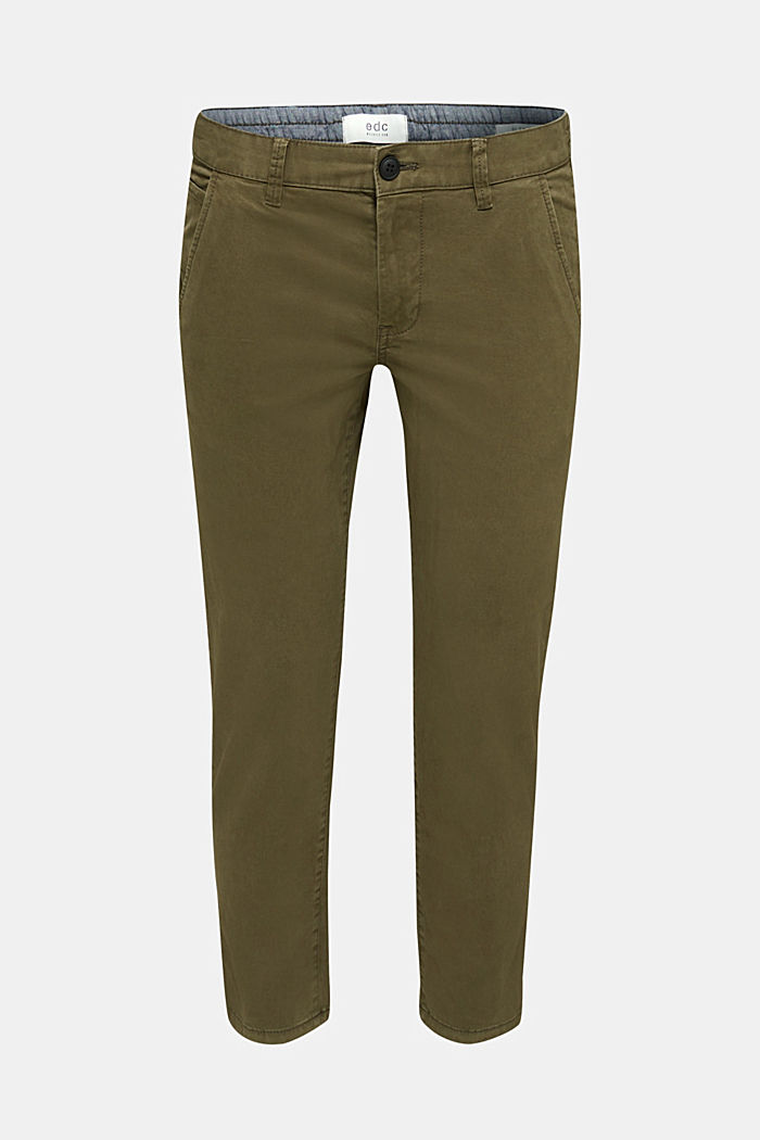 Cropped chinos with stretch and organic cotton, OLIVE, detail image number 5