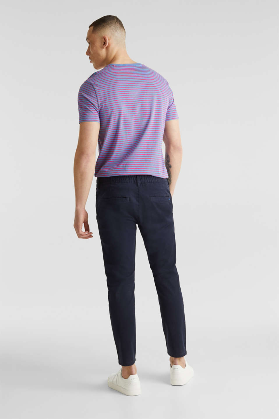 Cropped chinos with stretch and organic cotton, NAVY, detail image number 2