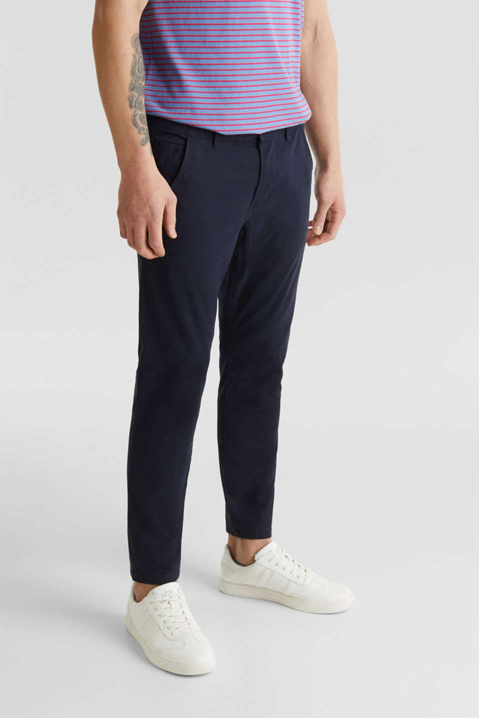 Cropped chinos with stretch and organic cotton, NAVY, detail image number 5