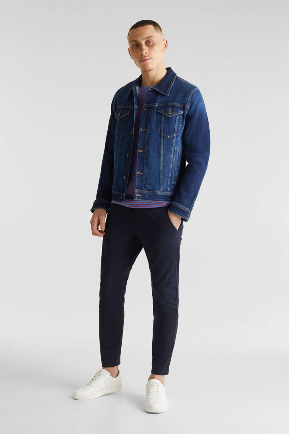 Cropped chinos with stretch and organic cotton, NAVY, detail image number 0
