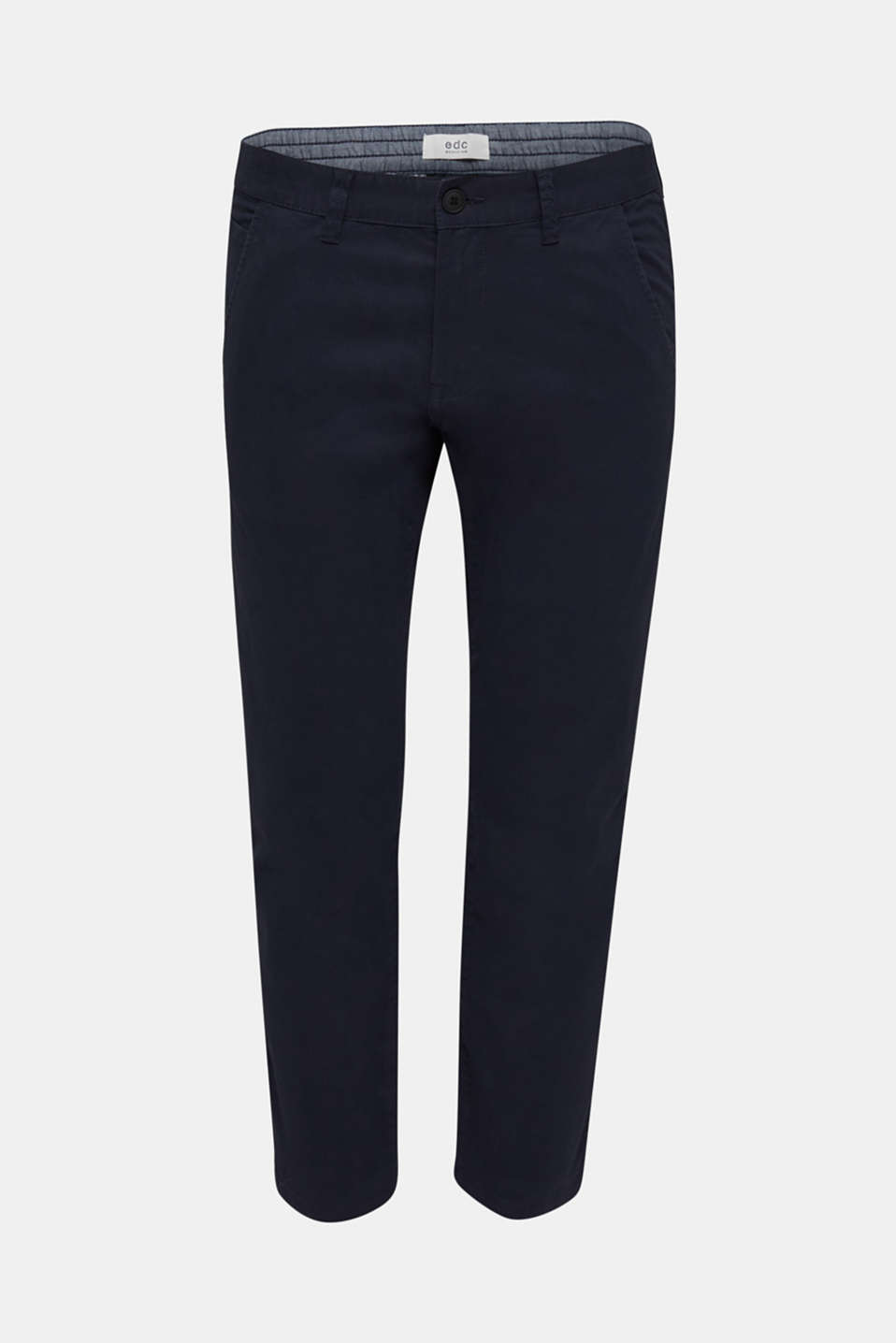 Cropped chinos with stretch and organic cotton, NAVY, detail image number 7
