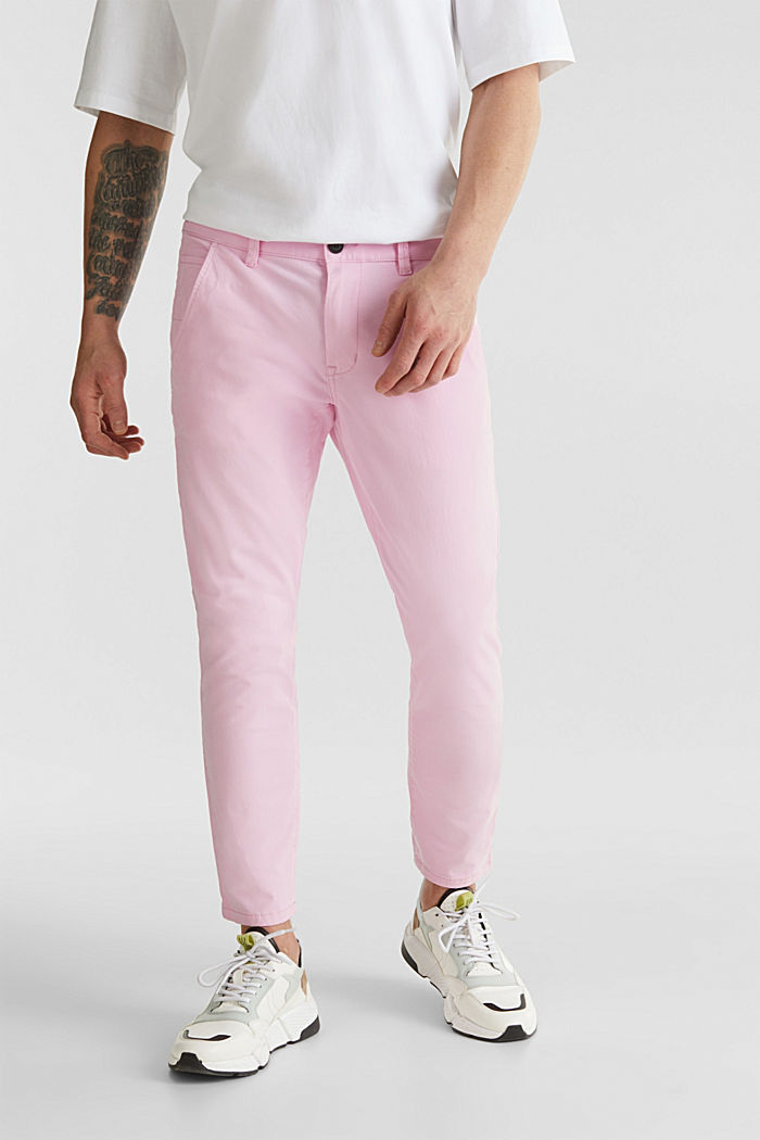 Verkürzte Chino mit Stretch und Organic Cotton, LIGHT PINK, detail image number 0