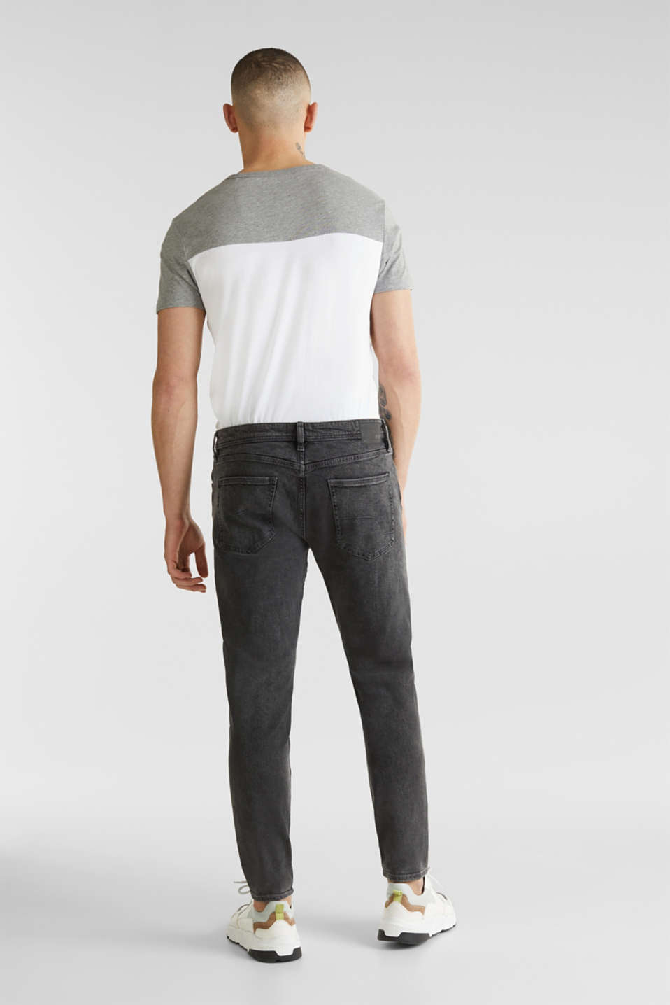 Super stretchy jeans with washed-out effect, BLACK DARK WASH, detail image number 0