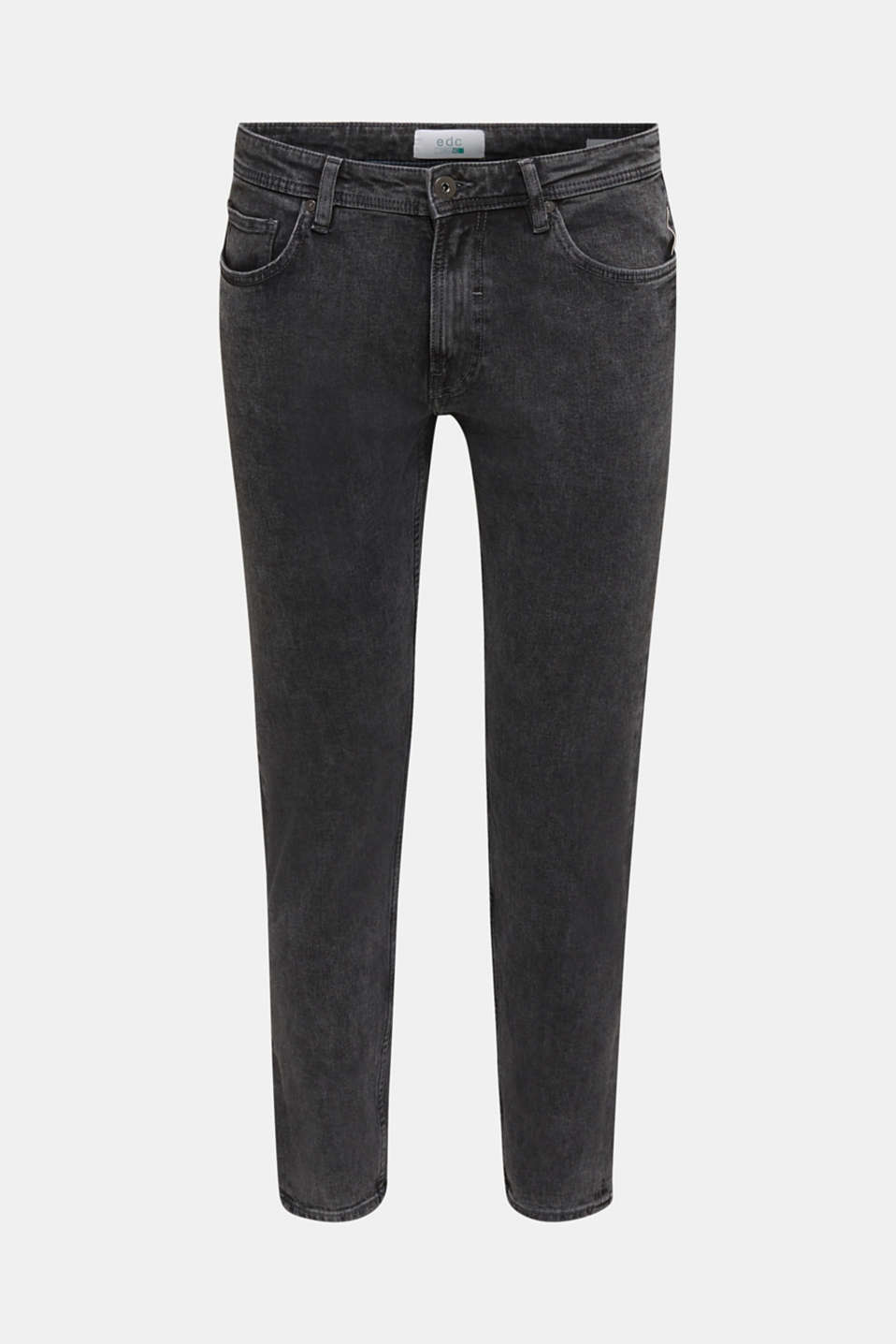 Super stretchy jeans with washed-out effect, BLACK DARK WASH, detail image number 4