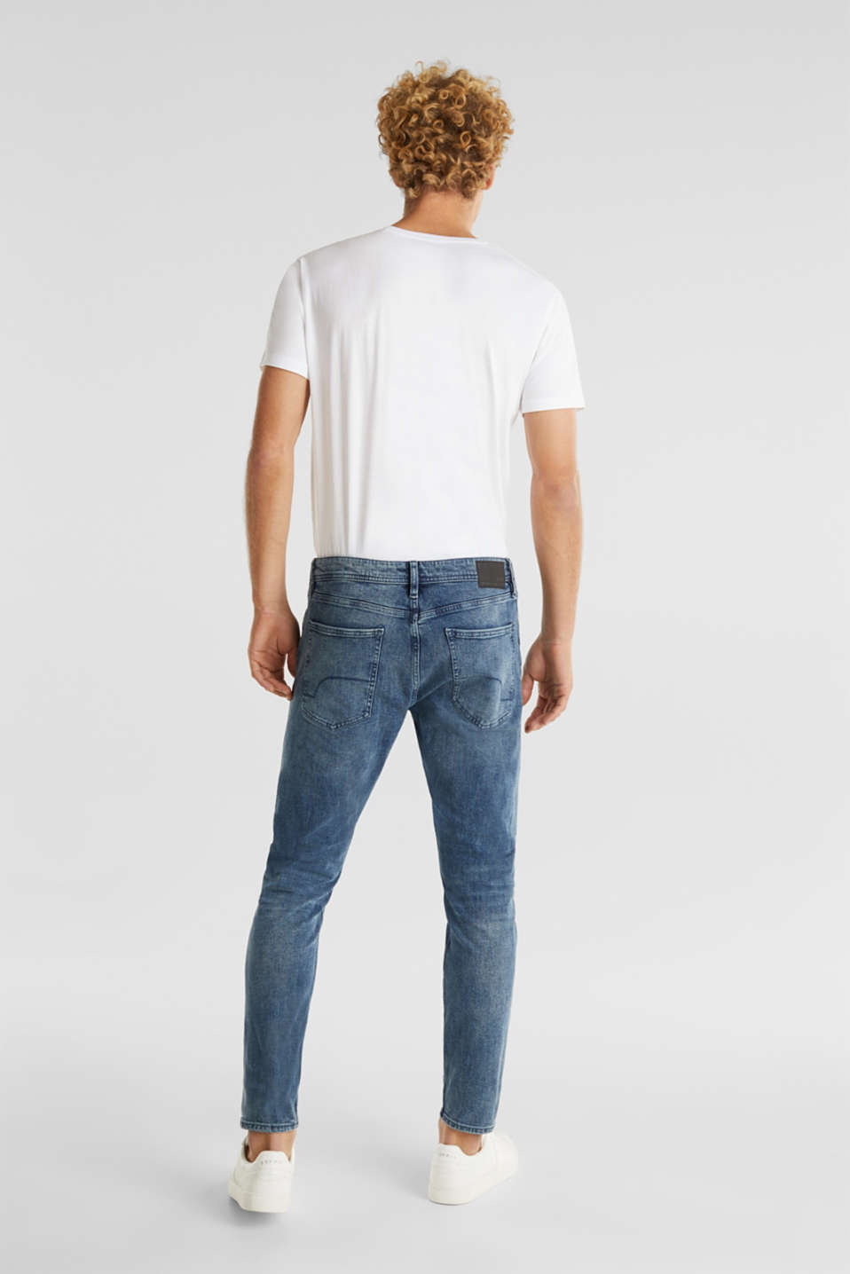 Super stretchy jeans with washed-out effect, BLUE MEDIUM WASH, detail image number 1