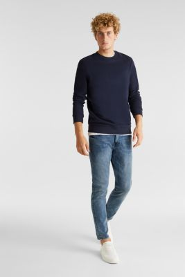Super stretchy jeans with washed-out effect, BLUE MEDIUM WASH, detail