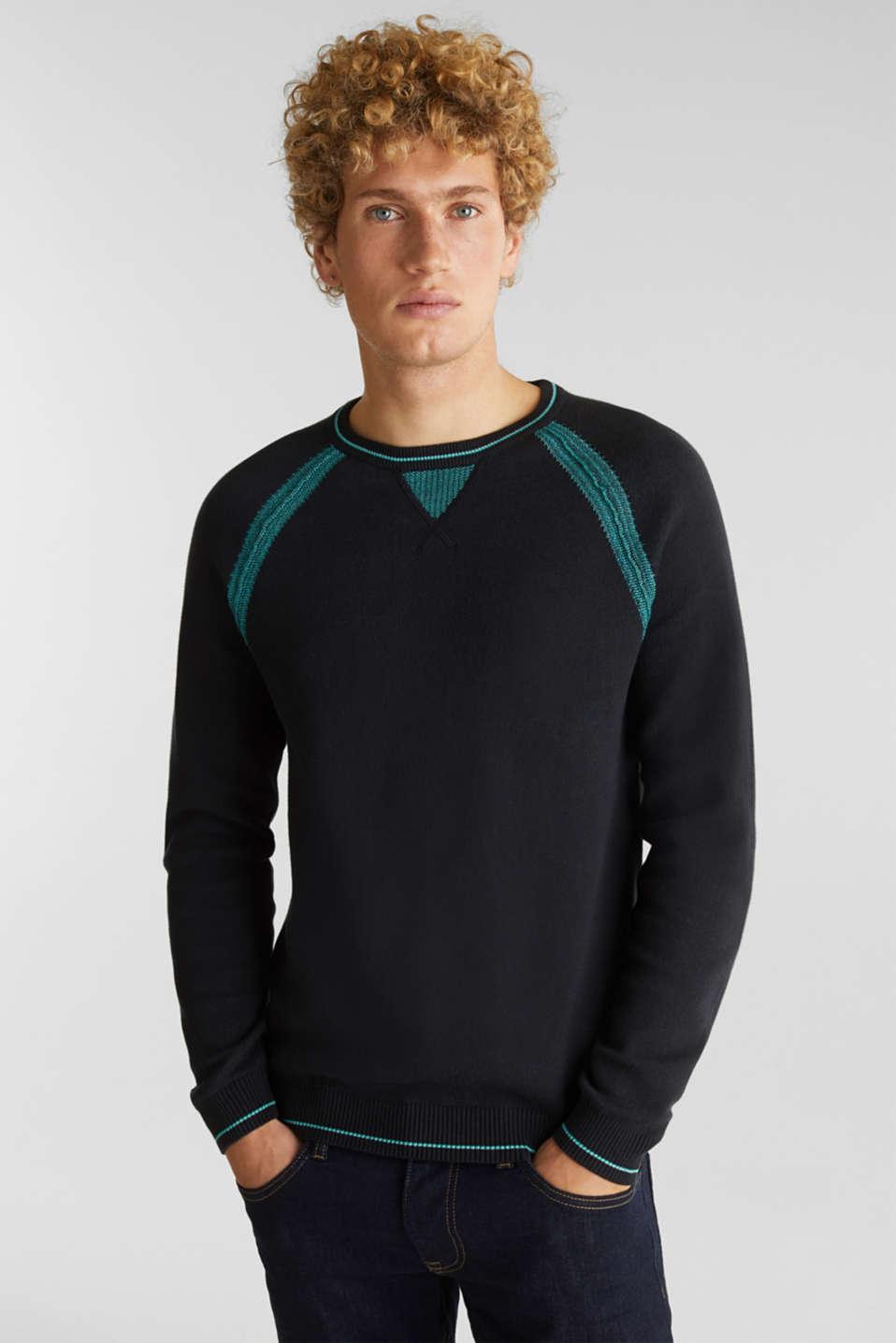Jumper with contrasting details, 100% cotton, BLACK 2, detail image number 0