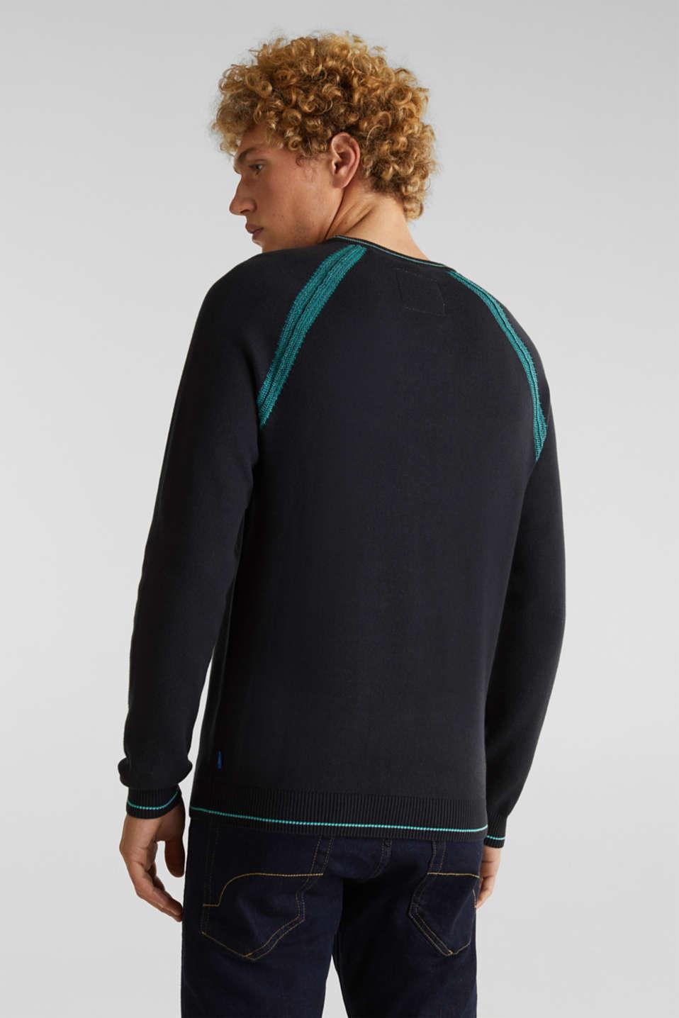 Jumper with contrasting details, 100% cotton, BLACK 2, detail image number 2