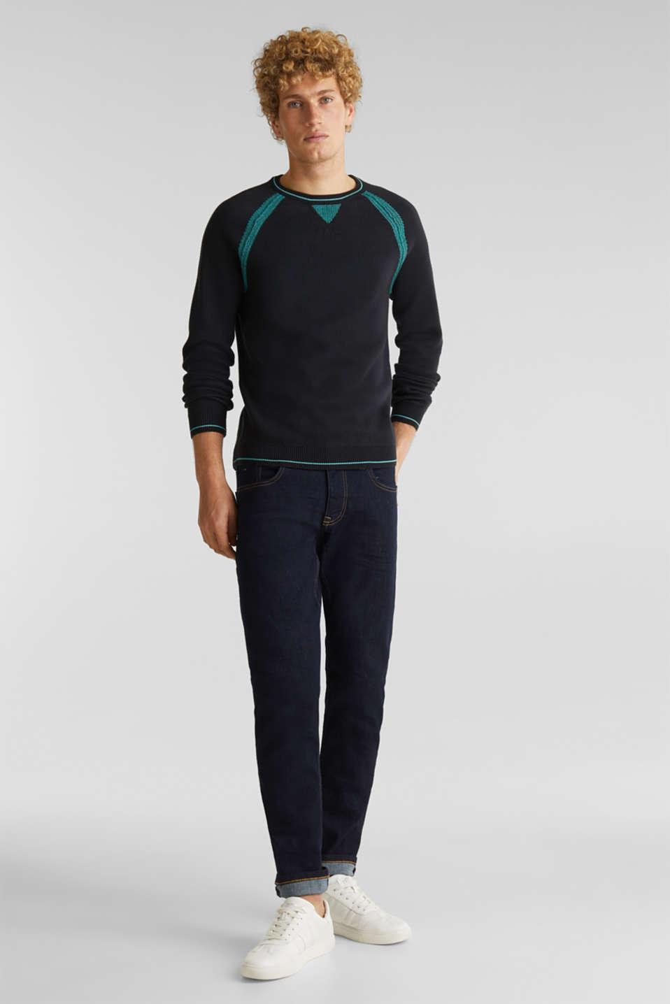Jumper with contrasting details, 100% cotton, BLACK 2, detail image number 6