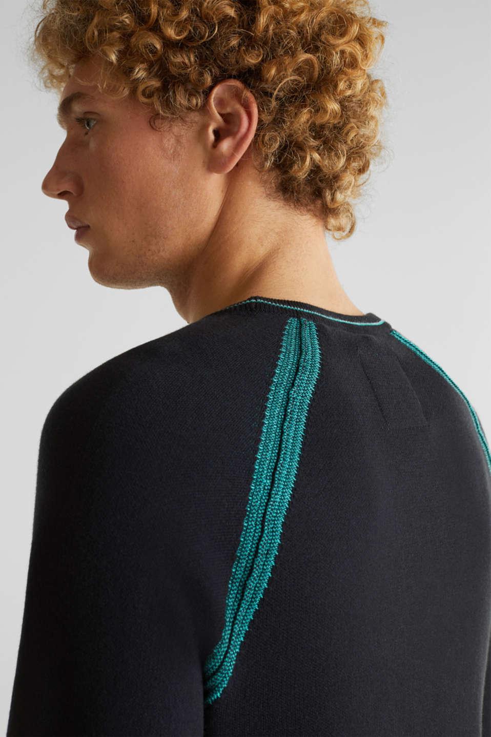Jumper with contrasting details, 100% cotton, BLACK 2, detail image number 5