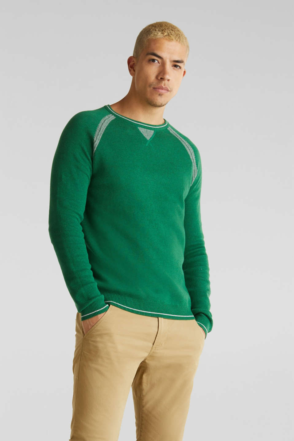 Jumper with contrasting details, 100% cotton, GREEN 5, detail image number 0