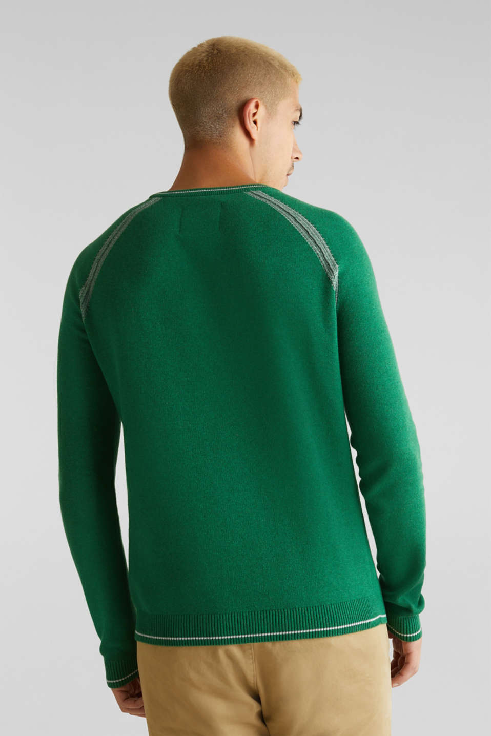 Jumper with contrasting details, 100% cotton, GREEN 5, detail image number 3