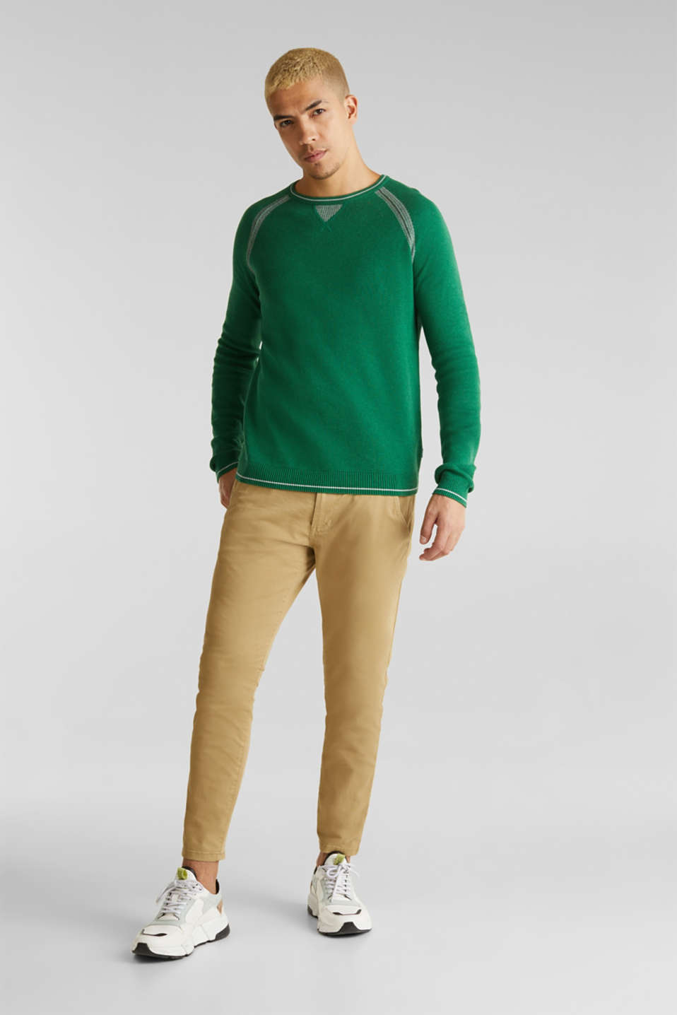 Jumper with contrasting details, 100% cotton, GREEN 5, detail image number 1