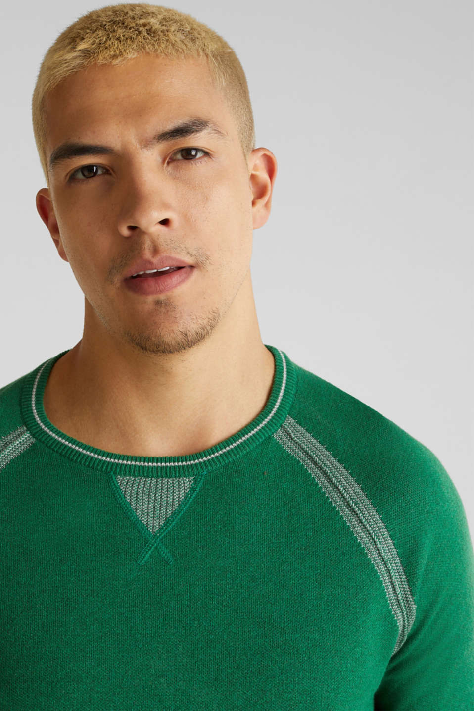Jumper with contrasting details, 100% cotton, GREEN 5, detail image number 2