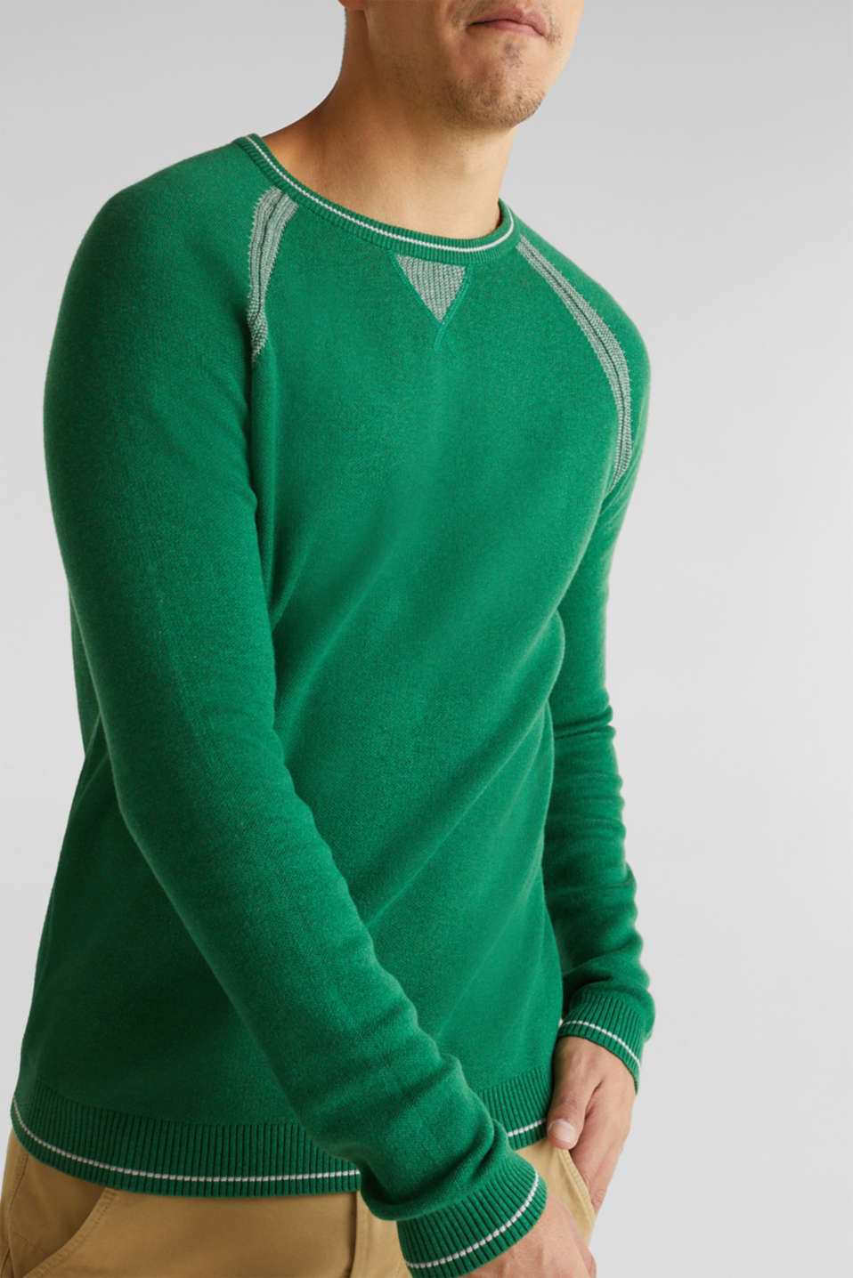 Jumper with contrasting details, 100% cotton, GREEN 5, detail image number 6