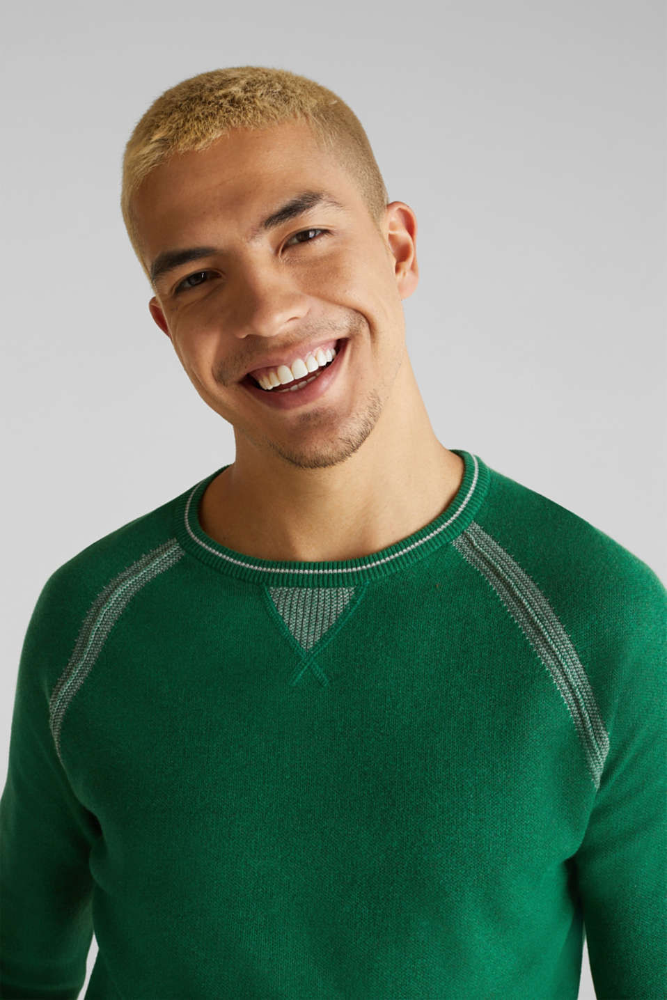 Jumper with contrasting details, 100% cotton, GREEN 5, detail image number 5