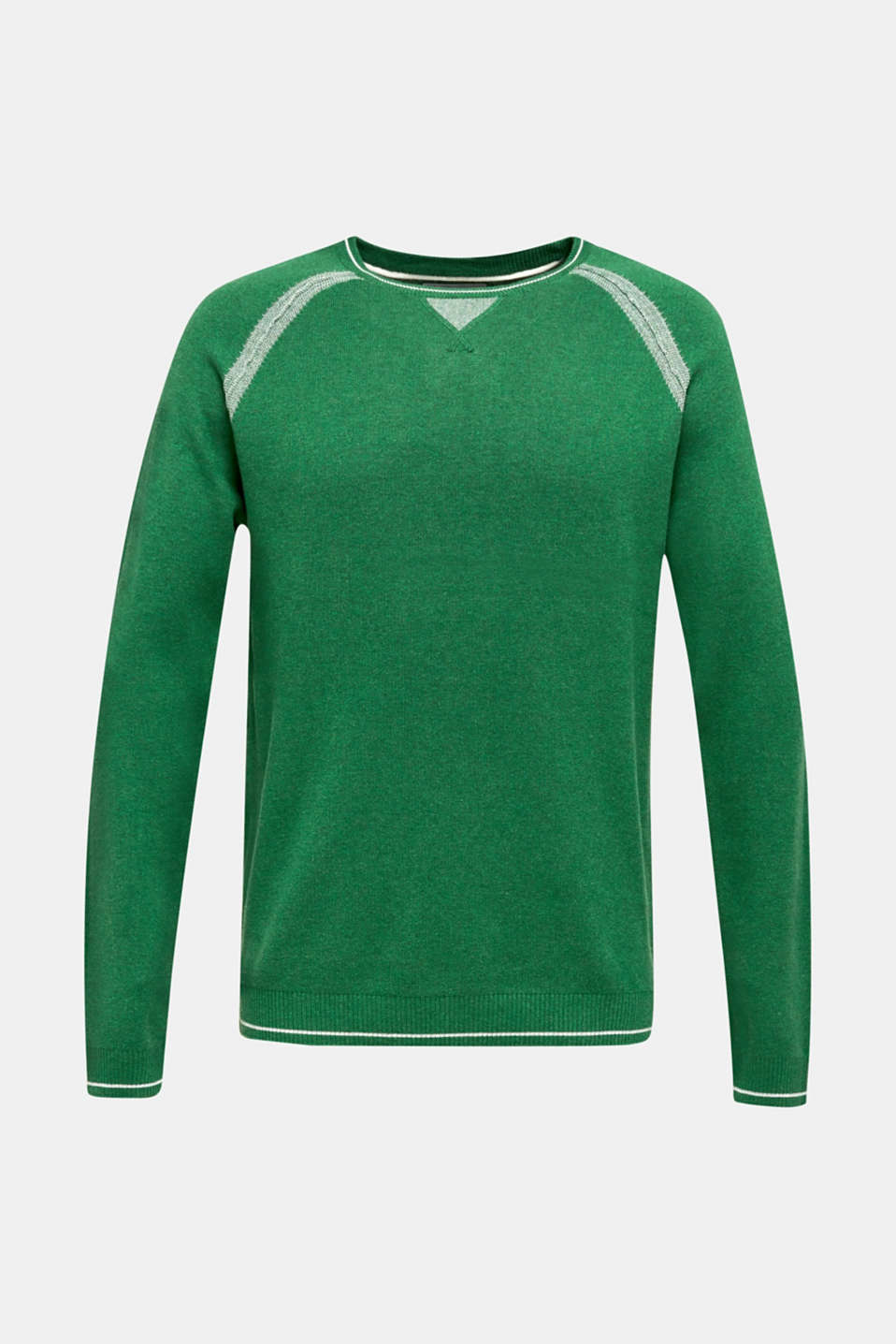 Jumper with contrasting details, 100% cotton, GREEN 5, detail image number 7