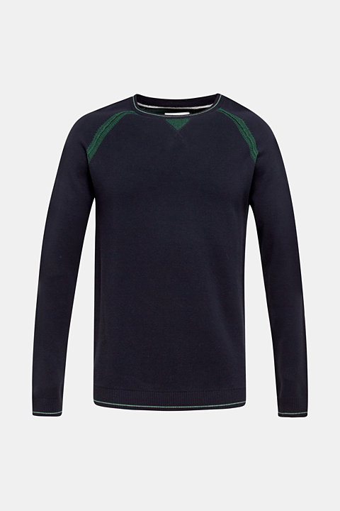 Jumper with contrasting details, 100% cotton
