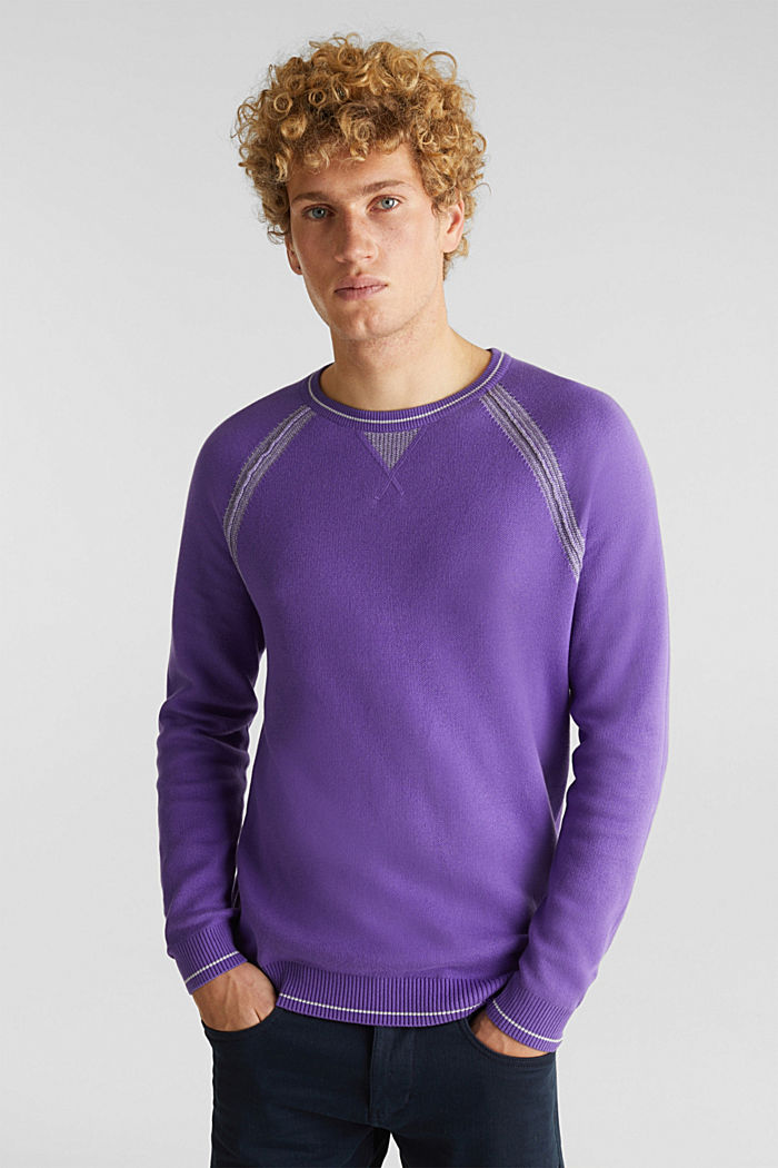 Jumper with contrasting details, 100% cotton, PURPLE, detail image number 0