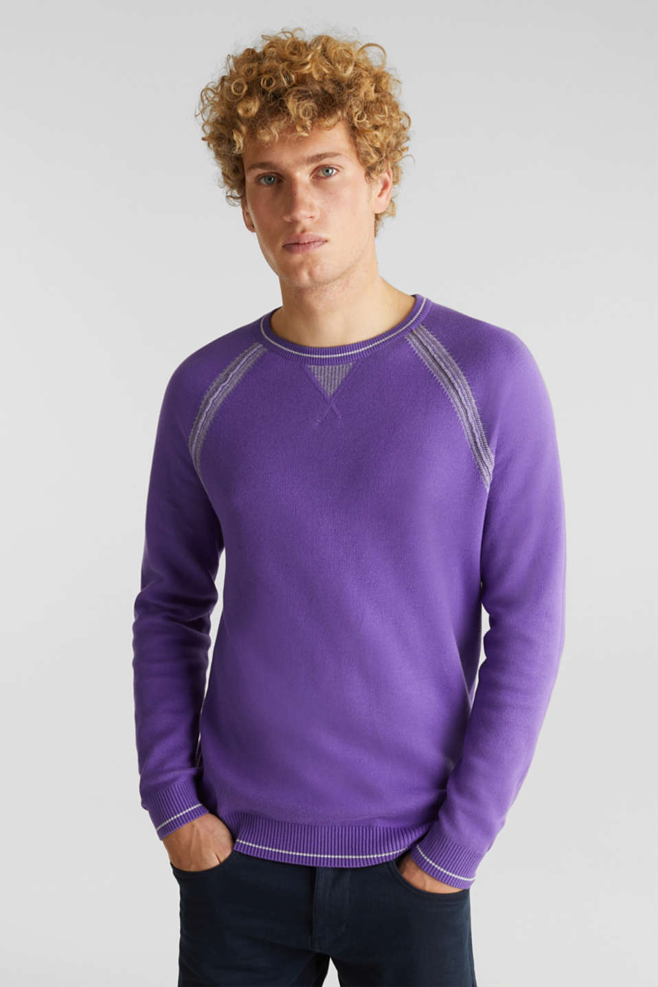 Jumper with contrasting details, 100% cotton, PURPLE 2, detail image number 0