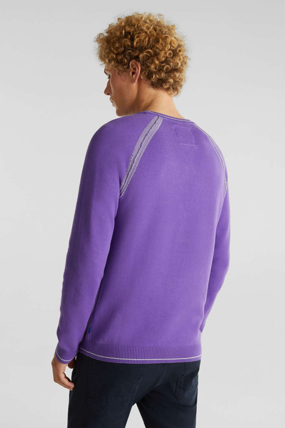 Jumper with contrasting details, 100% cotton, PURPLE 2, detail image number 2