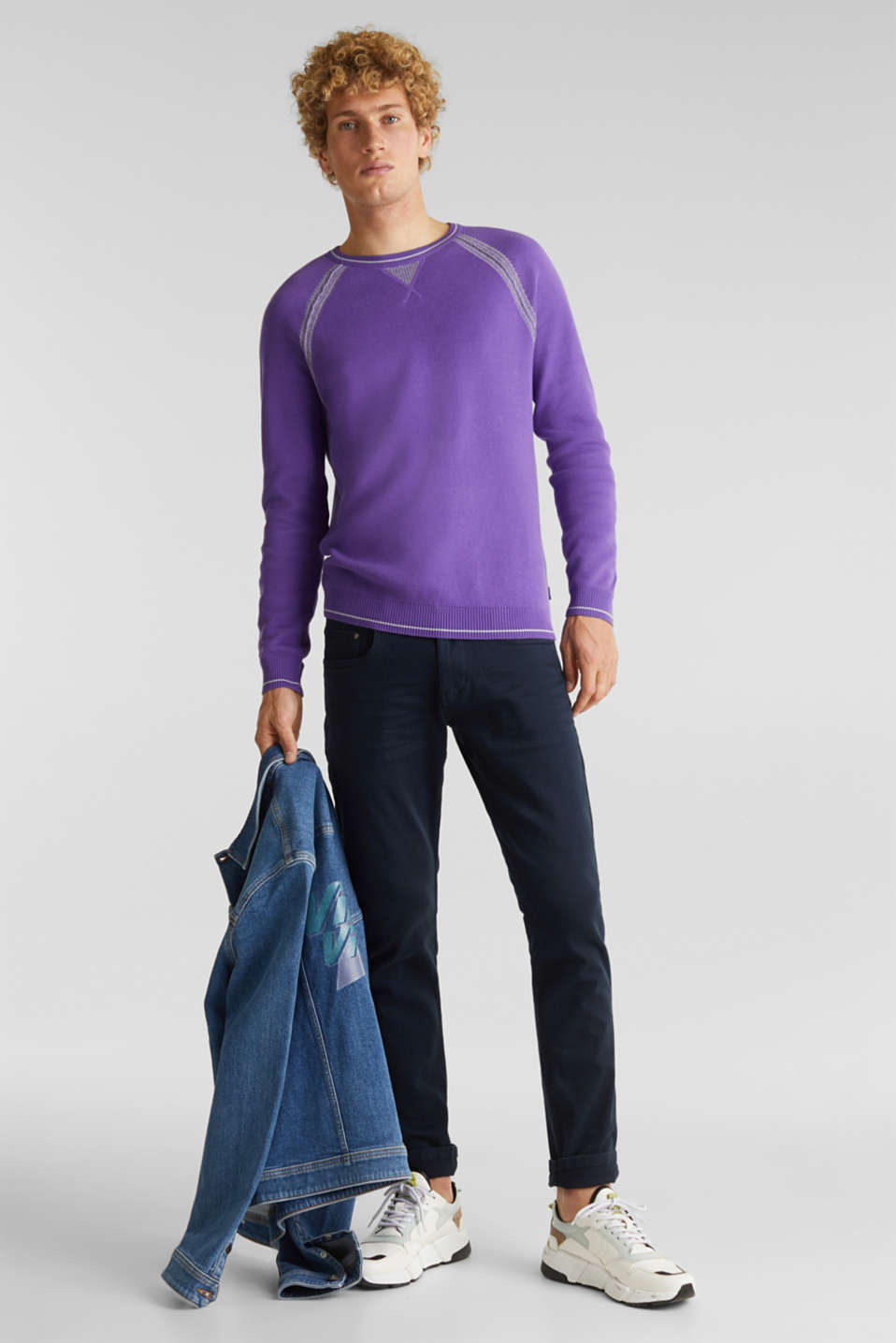Jumper with contrasting details, 100% cotton, PURPLE 2, detail image number 1