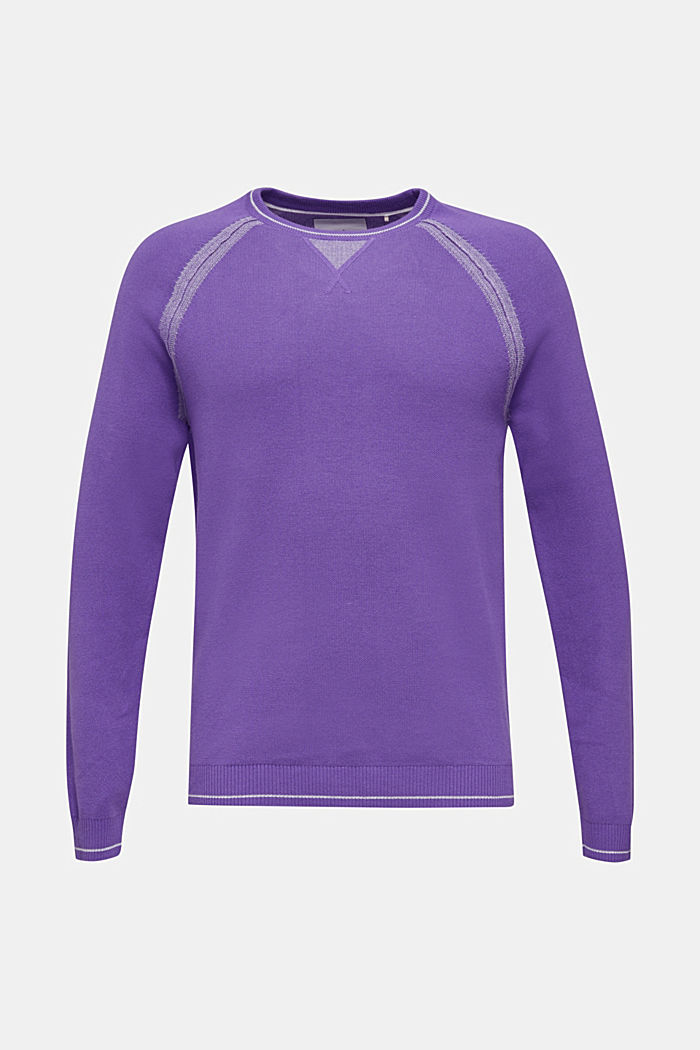 Jumper with contrasting details, 100% cotton, PURPLE, detail image number 5